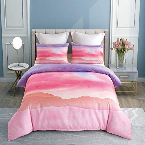 KINBEDY Marble Watercolor Kids Duvet Cover Set, Colorful Teen Bedding Sets Twin Size Mixed Brown 2 Pcs Ultra Soft Set. (Colorful Pink, Twin)