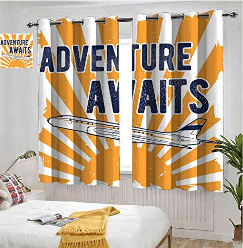 "Adventure Soundproof Curtain, Commercial Airplane with Rising Sun Adventure Quote Aviation Journey Print Grommet Light Blocking Panels for Kitchen, Each Panel 36""W x 72""L Navy Blue Orange"