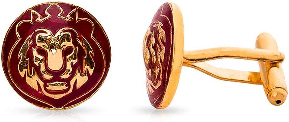 Rosec Jewels Personalized Vintage Inspired Lion Cufflinks, Mens 22kt Gold Plated Enamelled Cufflinks, Unique Maroon Animal Groom Cufflinks, Royal Custom Cuff Links