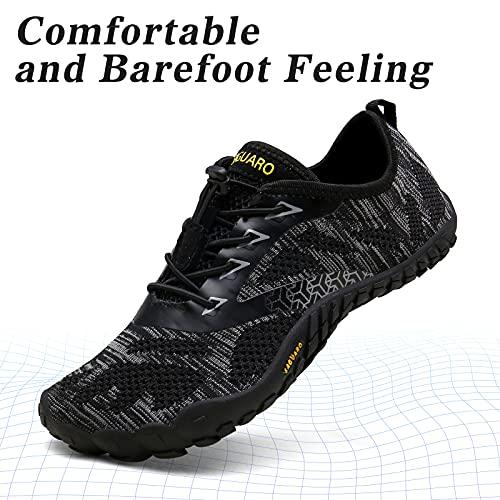 SAGUARO Hombre Mujer Barefoot Zapatillas de Trail Running Minimalistas Zapatillas de Deporte Fitness Gimnasio Caminar Zapatos Descalzos para Correr en Montaña Asfalto Escarpines de Agua, Negro, 39 EU