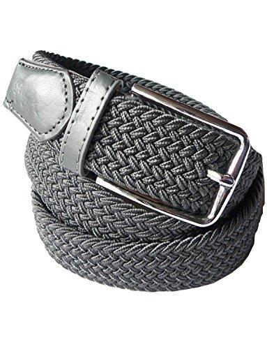 LisaModa Unisex Stretch Flechtgürtel Silbergrau Bundmaß 85-115cm