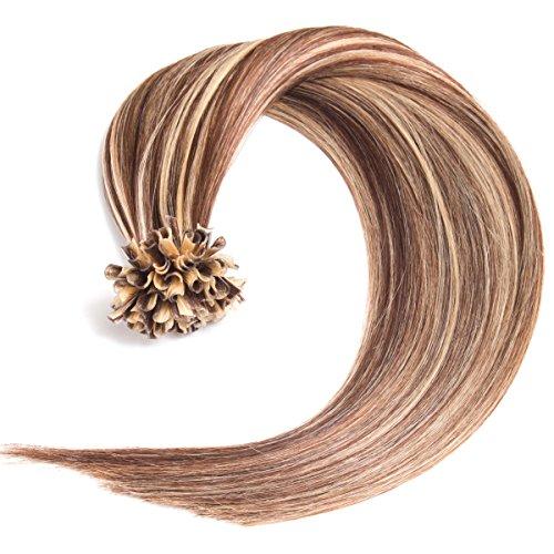 Keratin Bonding Hair Extensions 100% Remy Echthaar Haarverlängerung #4/24 gesträhnt schokobraun honigblond - 50 Strähnen 1 g - 50 cm) U-Tip Extention Remy Qualität by Glamxtensions