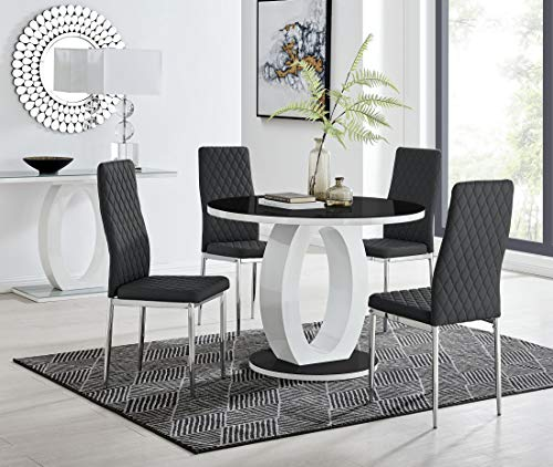 Furniturebox UK Giovani Modern Stylish White/Black High Gloss And Glass 100cm Round Dining Table And 4 Contemporary Milan Chairs Set (Dining Table + 4 Black Milan Chairs)