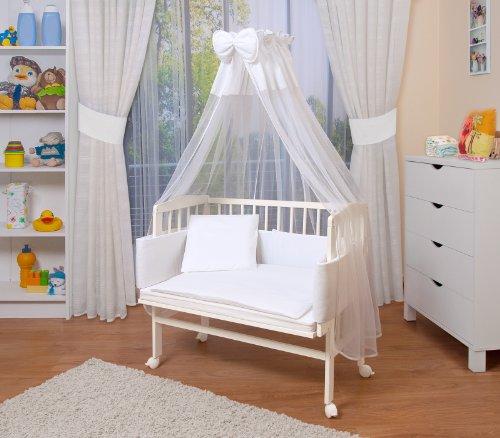 WALDIN Baby Beistellbett mit Matratze und Nestchen, höhen-verstellbar, 16 Modelle wählbar, Buche Massiv-Holz weiß lackiert,Große Liegefläche 90x55cm, weiß
