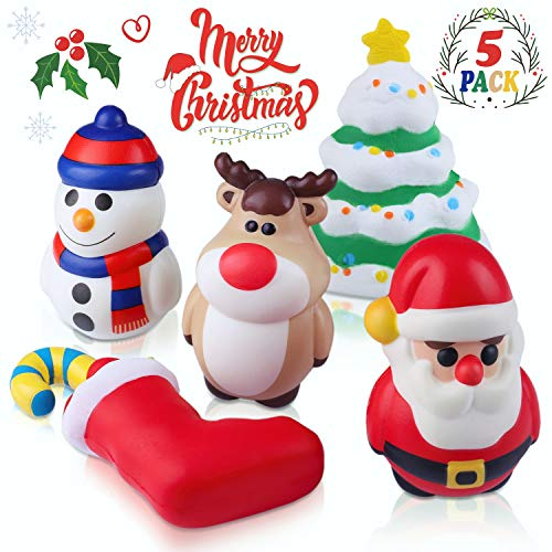 Christmas Squishy Toys Includes Santa, Christmas Tree, Reindeer,Stocking & Snowman Kawaii Slow Rising Squishy Toys 5 Pack