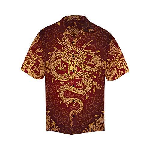INTERESTPRINT Men's Casual Button Down Short Sleeve Chinese Dragons Hawaiian Shirt XXXXXL