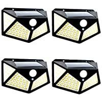 4-Pack ShioSel Solar Motion Detected 100-LED Wall Flood Lights