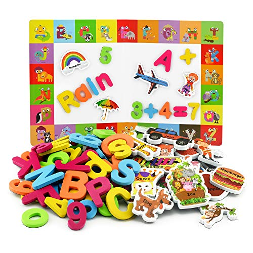 Magnetic Letters and Numbers + Matching A-Z Objects / ABC Magnets, Numbers and Board + E-Book with 35 Learning & Spelling Games Included | Alphabet Magnets and Numbers for Toddlers