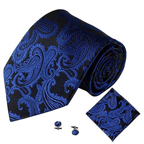 Xmiral Klassische Jacquard Krawatte Herren Einstecktuch Einstecktuch Manschettenknopf(C)