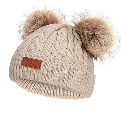 Gorro de invierno para niñas, cálido, de punto con dos pompones, perfecto para invierno y otoño, caqui, L