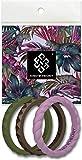 Knot Theory Passion - Anillos de Boda de Silicona apilables - Bandas Finas en Verde, púrpura, Bronce en tamaño 4 (2 mm) Paquete de 3