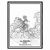 La Coruña España Mapa de pared arte lienzo impresión cartel obra de arte sin marco moderno mapa en blanco y negro recuerdo regalo decoración del hogar