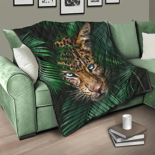 AXGM Colcha de bosque tropical tropical y plantas leopardo, manta cálida para dormitorio blanca, 200 x 230 cm