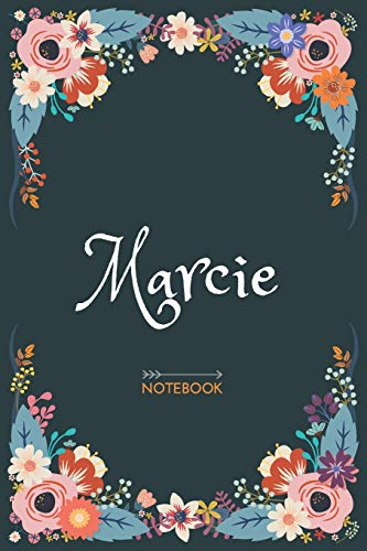 Marcie - Notebook: Floral design, Personalized name journal « Marcie » | Birthday Gift For Women & Girl, Mom, Sister ..| Lined Journal, 120 Pages, size 6 x 9