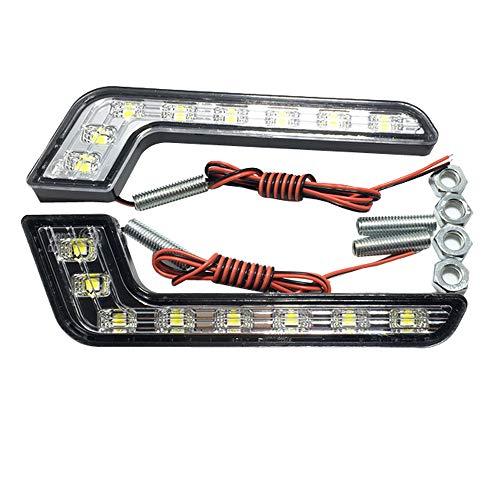 HEHEMM 1 Paire 8 LED Voiture Feux de Jour Brouillard Driving Lampe étanche Blanc