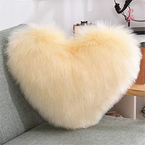 RAILONCH Cojín en forma de corazón, peluche suave, cojín de imitación de piel de cordero, cojín decorativo para sofá, cama (amarillo claro, 40 x 50 cm)