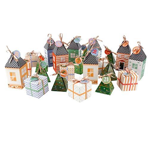 Roomando_de Adventskalender Kalender Kalenderdorf Dorf zum Selbstbefüllen für 24 kleinen Geschenke