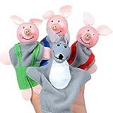 Marionnette à Main Trois Petits cochons et Loup marionnette Fruits et légumes marionnette du Zodiaque Chinois marionnette Animale Douce Doigt Enfant bébé Jouet d'éducation précoce (4 pièces Trois PE