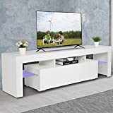 VINGLI Modern TV Stand, White 63 Inch Entertainment Center TV Cabinet with Purple LED Light Media Storage Console Table with 2 Shelves and Drawers for Living Room Bedroom Furniture