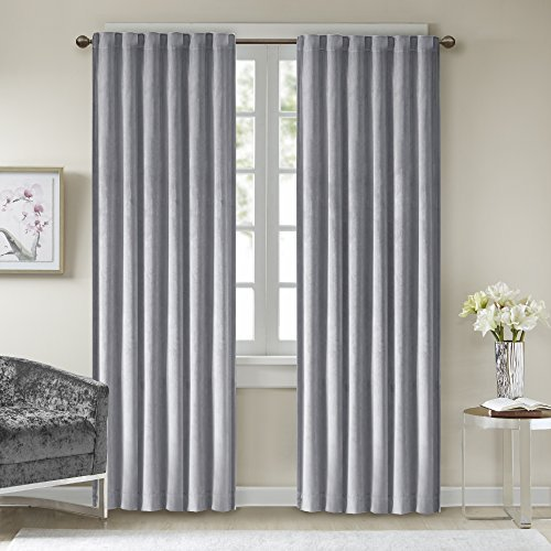 Comfort Spaces - Poly Velvet Window Curtain Pair 4pc Set - Light Grey - 50x84 Inch Panel - Energy Efficient Saving - Curtain Rod Pocket - Include 2 Panels and 2 Tiebacks