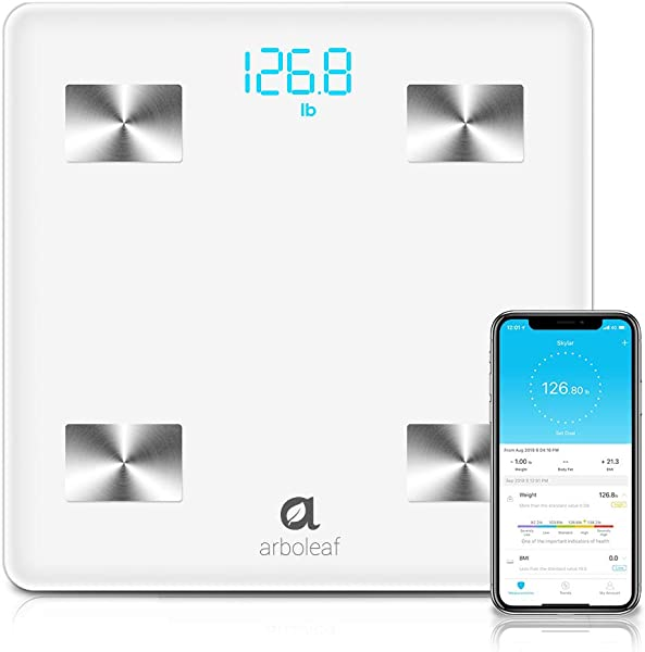 Arboleaf Bluetooth Body Fat Scale Smart Scale Wireless Bathroom Weight Scale With IOS Android APP Unlimited Users Auto Recognition Body Composition Analyzer For Fat BMI BMR Muscle Mass Water