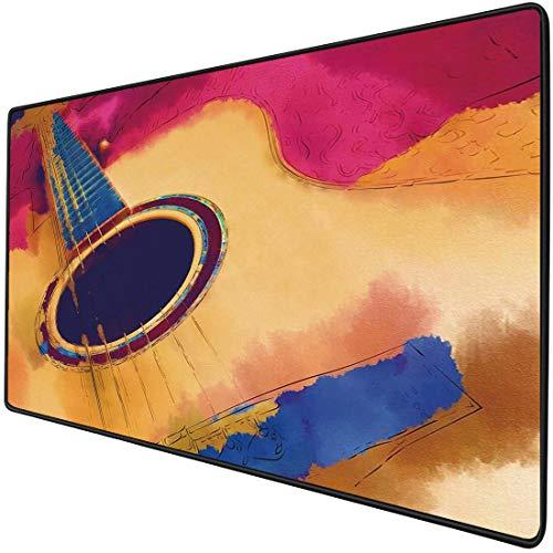 Mauspad-Spielfunktion Gitarre Dicke wasserdichte Desktop-Mausmatte Abstrakte Schnur-Muster-Aquarell-Effekt-Weinlese-Inspirationen,magentaroter violetter Blauer Senfrutschfeste Gummibasis