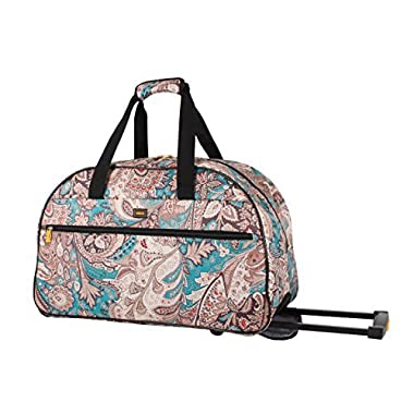 Lucas Luggage 22 Inch Printed Rolling Carry-On Suitcase Wheeled Duffel (22in, Savey)