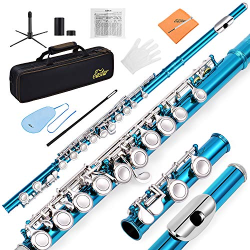 Eastar C Flutes Closed Hole C Flute Musical Instrument with Joint Grease,Cleaning Rod, Carrying Case, Stand, Gloves and Tuning Rod, 16 Key Student Flute Beginner Kids Flute, Sky Blue, EFL-1SB