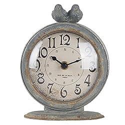 NIKKY HOME Vintage Table Clock, Shabby Chic Pewter Round Quartz Shelf Desk Clock with 2 Birds, 4.75 x 2.5 x 6.12 Slate Grey