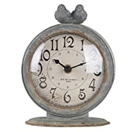 "NIKKY HOME Shabby Chic Pewter Round Quartz Table Clock with 2 Birds, 4.75"" x 2.5"" x 6.12"" Slate Grey"