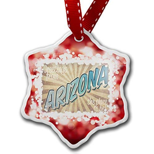 Hanging Ceramics Christmas Heart Ornaments, Greetings from Arizona, Vintage Postcard Christmas Ornament, Funny Christmas Tree Decorations & Gift, Made in USA