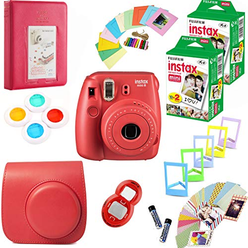 Fujifilm Instax Mini 8 Film Camera (Raspberry) + 2 Twin Packs Instax Film (40 Shots Total) + Pleather Protective Camera Case + Photix 5-Color Frame Set + Decorative Stick-on Frames - 20 Designs