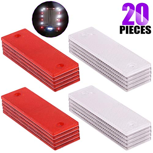 Swpeet 20Pcs Universal Red + White Plastic Rectangular Stick-on Car Reflector Sticker, Door Reflectors Interior Red + White Compatible Warning Plate Adhesive Reflector for Most Car