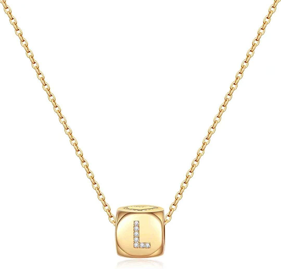 M Ranking integrated 1st place MOOHAM Dainty Nashville-Davidson Mall Letter Initial Necklaces Girls for Small Women