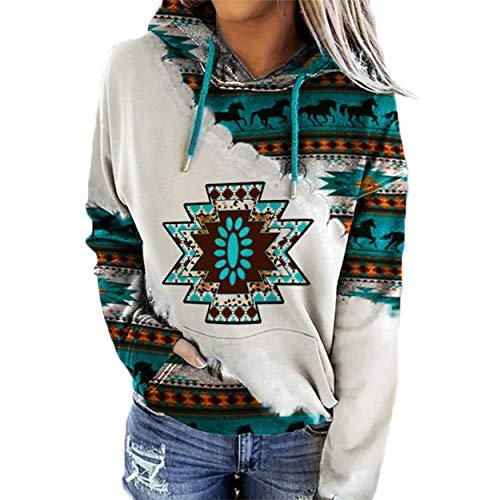 Western Hoodie for Women, Ladies Western Ethnic Style Rhombus Printed Hooded Sweatshirt Thin Pullover Top-M
