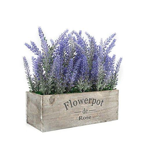 Velener - Planta artificial de lavanda en maceta para decoración del hogar (flor morada, bandeja de madera)