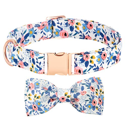 Bow Tie Collar for Dogs, Girl Dog Collar Puppy Collars Floral Pattern Personalized Dog Collar Dog Collar with Bow Adjustable Cute Collars for Large Dogs Medium Dog Collars Small Dog Collar