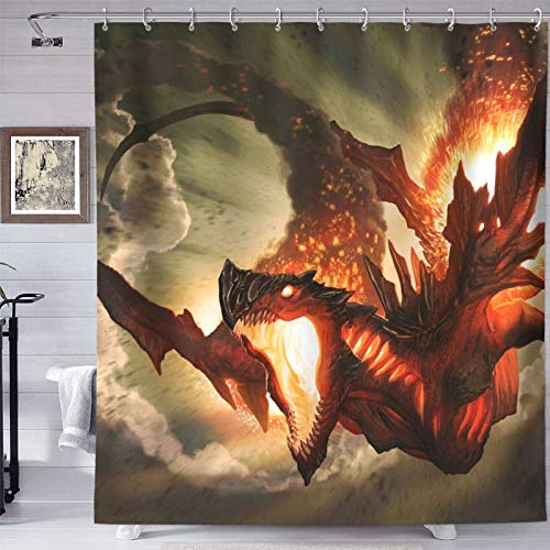 HYEECR Cool Fire Dragon Shower Curtain Set Eco-Friendly Waterproof Polyester Fabric Bathroom Bath Curtains with 12 Plastic Hooks,72x72 Inches