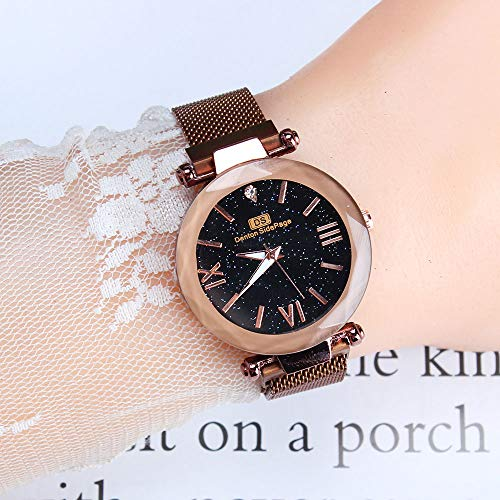 TZX Frau Quarzuhr, Damen Armbanduhr Roségold, Arbeiten beiläufige Uhren, Mailand Netto-Magnetband, Starry, runde Zifferblatt Uhr,B