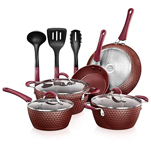 NutriChef Nonstick Cookware Excilon Home Kitchen Ware Pots & Pan Set with Saucepan Frying Pans, Cooking Pots, Lids, Utensil PTFE/PFOA/PFOS free, 11 Pcs, Purple Diamond, One size