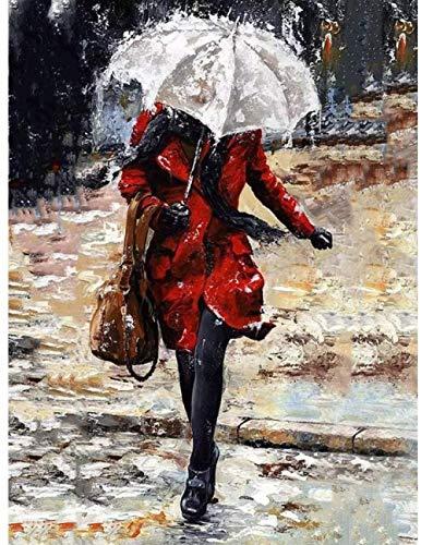 Legpuzzels 1000 tabletten Paraplu in de regen Adolescent Intellectueel Educatief Spel Stress Reliever Verjaardagscadeau Speelgoed Gepersonaliseerde Moderne Kunstdecoratie 70x50cm