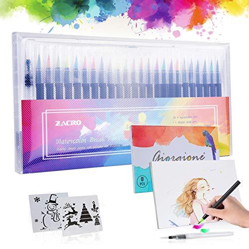 Zacro 24 Colors Watercolour Brush Pen Set + 1 Water Brush + 2 Drawing...