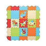 LUDI – Tapis de sol épais pour l'éveil de bébé – 10006 - puzzle géant aux motifs Animaux – dès 10 mois – lot de 9 dalles en mousse multicolores et 44 éléments amovibles pour un tapis de jeu ou parc