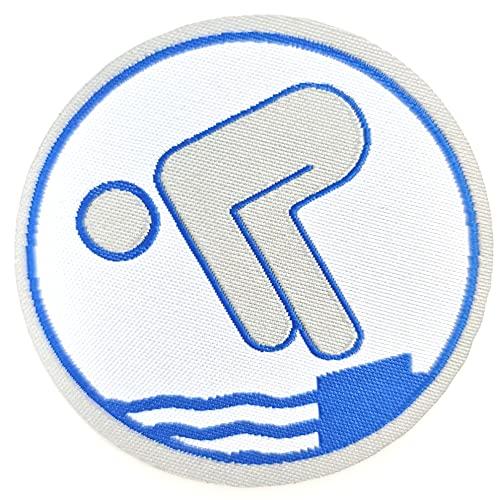 AXIONMARKT Schwimmabzeichen Silber Abzeichen Freischwimmer Schwimm Aufnäher zum aufbügeln als Geschenk für Handtuch Badehose Badeanzug zur bestandener Schwimmpass Prüfung Schwimmer rund ca.6cm