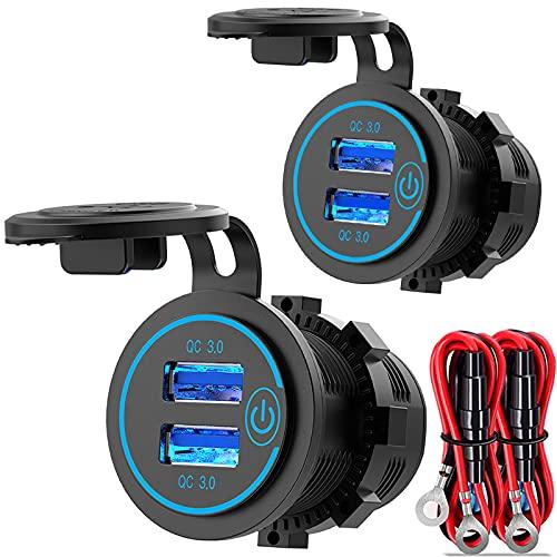 [2 Stück] QC 3.0 USB Steckdose 12V/24V Auto mit Schalter, Quick Charge 3.0 KFZ Ladegerät Einbau Buchse Wasserdicht Zigarettenanzünder USB Dose 36W für Motorrad Boot LKW Wohnwagen ATV