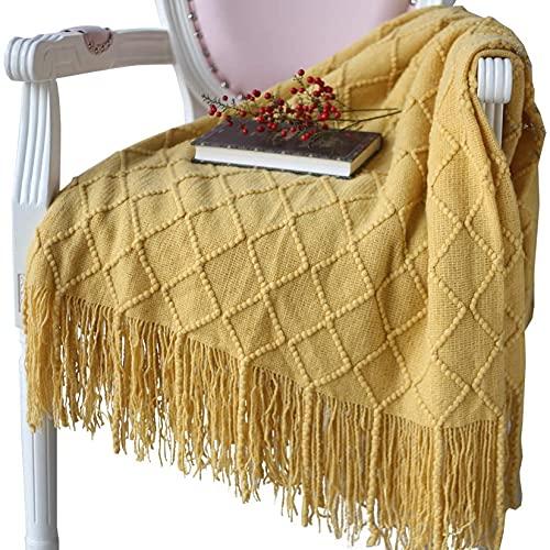 Hayisugal Wohndecke Weich Strick Wolldecke Quaste Kuscheldecke Sofadecke Schlafdecke Decke, Gelb, 125 x 210cm