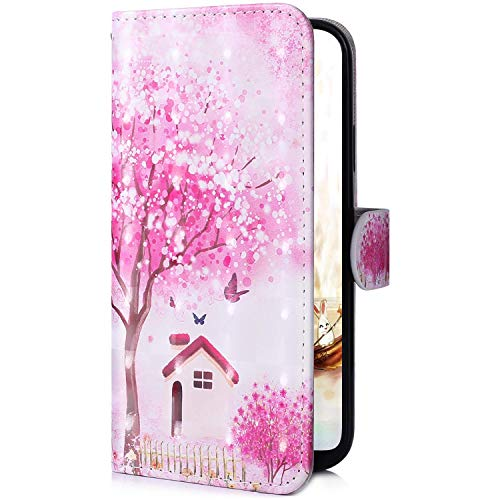 Uposao Kompatibel mit Samsung Galaxy A9 2018 Handytasche 3D Bunt Glitzer Glänzend Muster Handy Hülle Flip Hülle Schutzhülle Wallet Tasche Lederhülle Klapphülle Kartenfächer,Kirschblüte Blumen