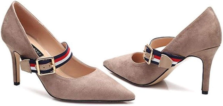 pink town Women's Elegant Versatile Tone Black Ankle Strap Stiletto Pumps Party shoes