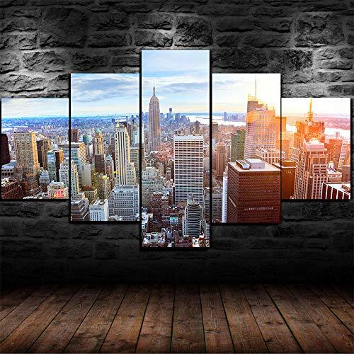 VKEXVDR Art Impresión Lienzo,Tamaño Grande, Rascacielos de la Ciudad de Nueva York -200x100cm Diseño Profesiona/5pcs(Sin Marco)