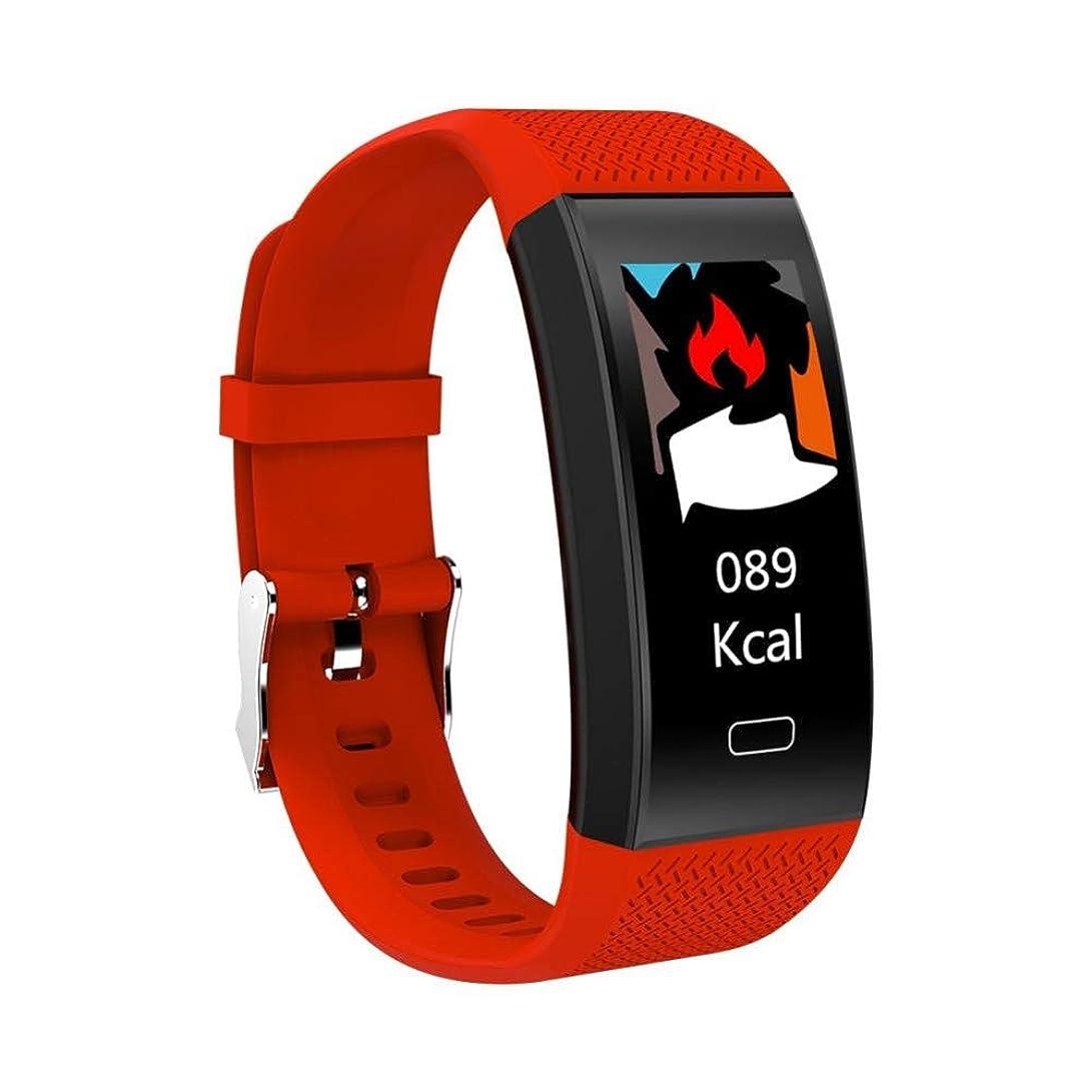 哲学つぼみ設計図Bluetooth心拍数モニターリストバンドカラースクリーン防水心拍数検出リアルタイムモニタリングフィットネス滑走路歩数計,Red